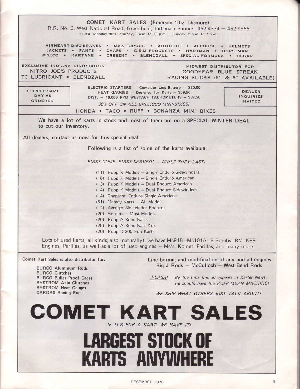 Lost Enduros Karter News December 1970 Westach Tachometer Wiring Dec70i