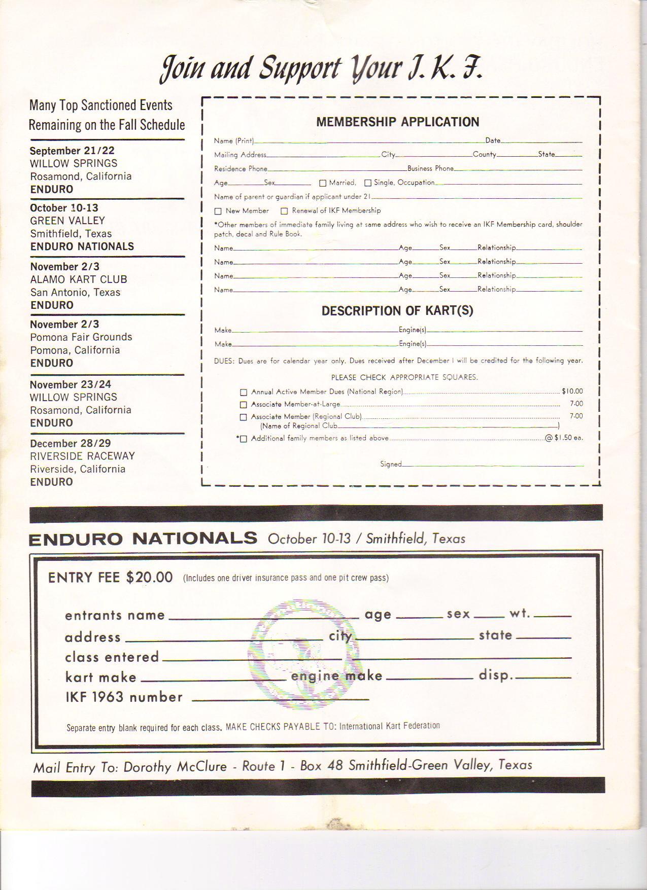Go Kart Dallas >> Lost Enduros: 1963 National Championship Program